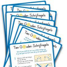 Klassenset Correctiekaart Tien Gouden Regels- Blokletters (10st)