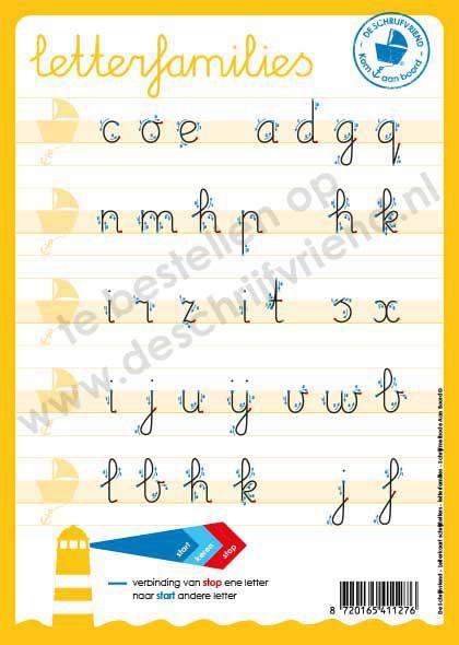 letterkaart schrijflettersfamilies